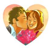 Mannen kysser le flickan med en bukett Arkivfoto
