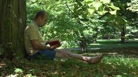 Mannen läste boken i gräsplan parkerar under grönt träd på sommartid 4K arkivfilmer