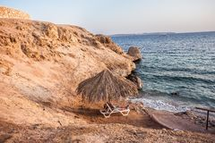 Mannen ligger på en dagdrivare mot bakgrunden av havet och den sandiga stranden royaltyfri fotografi