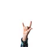 Mannen mannen, hipster, i plädskjorta, handen lyftte uppvisning av en skurkroll arkivfoto