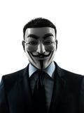 Mannen maskerade den anonyma gruppsilhouetten Arkivbilder