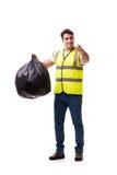 Mannen med avskrädesäcken på vit Royaltyfria Foton