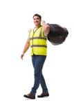 Mannen med avskrädesäcken på vit Arkivbild