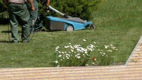 Mannen med en bärbar elektrisk gräsklippare mejar det gröna gräset på gräsmattan i parkera arkivfilmer