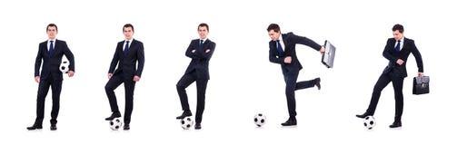 Mannen med fotboll som isoleras p? vit royaltyfri bild