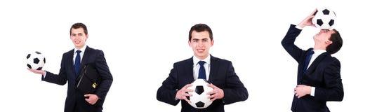 Mannen med fotboll som isoleras p? vit arkivbild