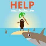 Mannen med hajar på ön stock illustrationer