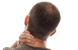 Mannen med halsen smärtar Royaltyfri Fotografi