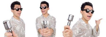 Mannen med mic som isoleras på vit Royaltyfria Foton