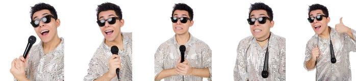 Mannen med mic som isoleras på vit Arkivfoton