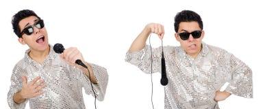 Mannen med mic som isoleras på vit Royaltyfri Fotografi