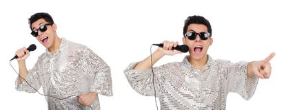Mannen med mic som isoleras på vit Fotografering för Bildbyråer
