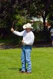 Mannen med oxen piskar Royaltyfri Foto