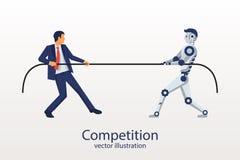 Mannen med roboten konkurrerar vektor illustrationer