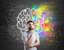 Mannen med skägget som står den near hjärnan, skissar Arkivfoto