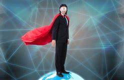 Mannen med supermakter som härskar världen Royaltyfria Bilder