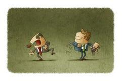Mannen med voodoodockan och mannen med smärtar royaltyfri illustrationer
