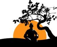 Mannen mediterar i den Lotus positionen under bakgrunden av ett fördelande träd, resningsolen och naturen Stillhet poserar, menta vektor illustrationer