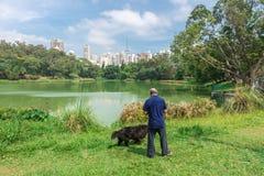 Mannen och hunden som tycker om Aclimacaoen, parkerar i Sao Paulo Arkivfoto