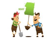 Mannen och kvinnan är det kastade trädet Arkivfoton