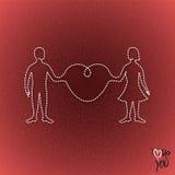 Mannen och kvinnan anknöt organiskt till och med en stor hjärta Royaltyfri Foto