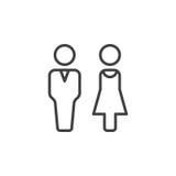 Mannen och kvinnan fodrar symbolen, översiktsvektortecknet, den linjära pictogramen som isoleras på vit royaltyfri illustrationer
