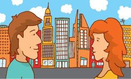 Mannen och kvinnan kopplar ihop möte i staden Royaltyfria Bilder