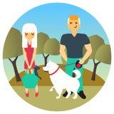 Mannen och kvinnan mötte i en parkera, medan gå ut hundkapplöpning Tecken för vektortecknad filmfolk i plan stil planlägger gulli Arkivbilder