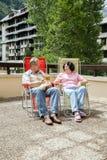 Mannen och kvinnan vilar på sommarterrass med katten Arkivbilder