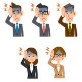 Mannen och kvinnlign av kontorsarbetare har huvudvärker royaltyfri illustrationer