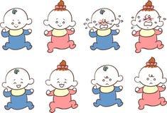 Mannen och kvinnlign behandla som ett barn olika ansiktsuttryck och poserar stock illustrationer