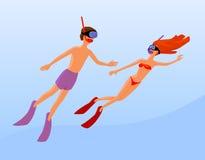 Mannen och kvinnlign frigör dykare Royaltyfri Bild