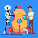 Mannen och roboten bygger en Rocket Together Vector isolerad knapphandillustration skjuta s-startkvinnan royaltyfri illustrationer