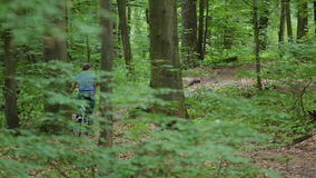 Mannen på bycicle rider bort i skog arkivfilmer