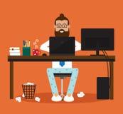 Mannen på datoren Arkivfoton