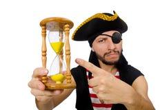 Mannen piratkopierar isolerat på den vita bakgrunden arkivfoton