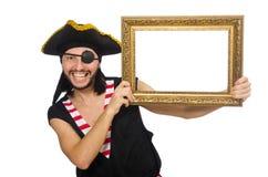 Mannen piratkopierar isolerat på den vita bakgrunden Royaltyfria Bilder