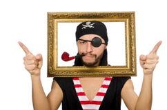 Mannen piratkopierar isolerat på den vita bakgrunden Fotografering för Bildbyråer