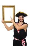 Mannen piratkopierar isolerat på den vita bakgrunden Arkivbilder
