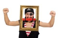 Mannen piratkopierar isolerat på den vita bakgrunden Arkivbild