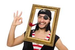 Mannen piratkopierar isolerat på den vita bakgrunden Royaltyfria Foton
