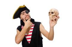 Mannen piratkopierar på den vita bakgrunden Royaltyfri Foto