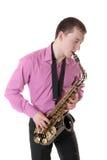 mannen plays saxofonen Fotografering för Bildbyråer