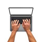 Mannen räcker arbete på bärbara datorn 13 tum Fotografering för Bildbyråer