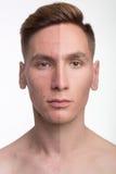 Mannen retuscherar före och efter Royaltyfri Foto