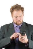 Mannen ringer ett nummer Royaltyfria Bilder