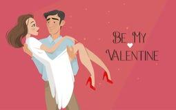Mannen rymmer flickan i hans armar Vänner valentin för dag s Tecknad filmstil Pojke och datum Royaltyfria Bilder