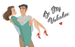 Mannen rymmer flickan i hans armar Vänner valentin för dag s Tecknad filmstil Pojke och datum Royaltyfri Fotografi