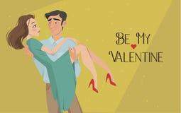 Mannen rymmer flickan i hans armar Vänner valentin för dag s Tecknad filmstil Pojke och datum royaltyfri foto