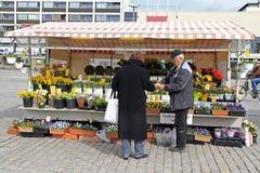 Mannen säljer blommor som är utomhus- i Turku, Finland Royaltyfri Bild
